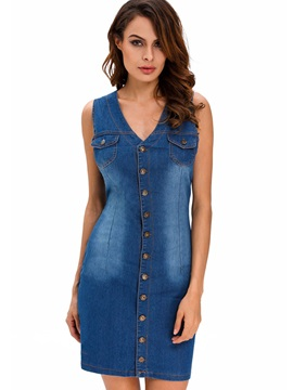 V Neck Sleeveless Denim Bodycon Dress