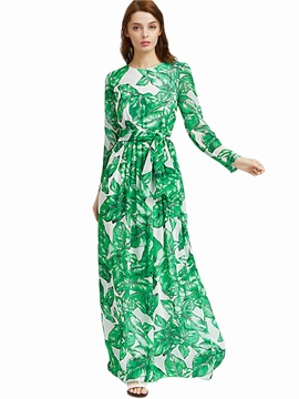 Floral Imprint Round Neck Long Sleeve Maxi Dress