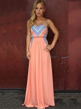 Chic Strapless Sleeveless Womens Maxi Dress