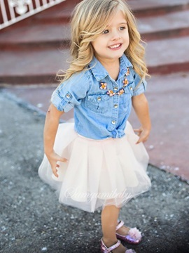 Denim Jacket White Gauze Skirt Girls Outfit