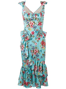 Petty Flowers Sleeveless V Neck Bodycon Dress