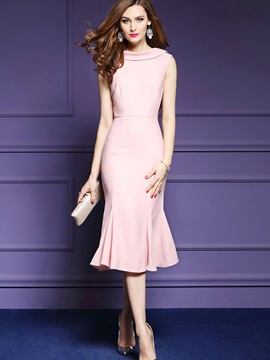 Elegant Pink Sleeveless Womens Bodycon Dress