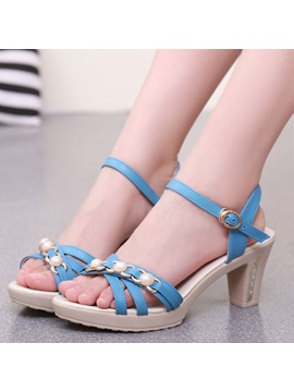 Pu Chunky Heel Strappy Open Toe Womens Sandals