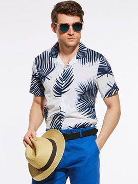 Plant Printed Mens Slim Shirt