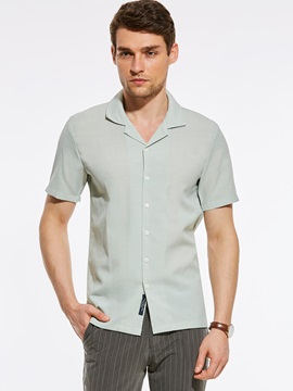 Tidebuy Plain Straight Short Sleeve Mens Loose Shirt
