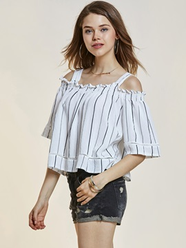 Slash Neck Stripe Backless Womens Top