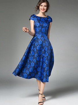 Blue Short Sleeve Round Neck Skater Dress