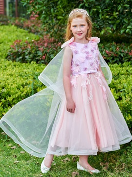 Dramatic Flowers Bowknot Straps Girl Party Dress
