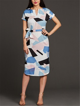 Color Block Short Sleeves Long Womens Day Dress