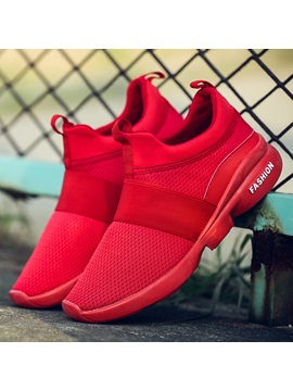 Mesh Patchwork Slip On Durable Mens Sneakers