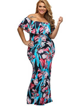 Boat Neck Floral Imprint Plus Size Dress
