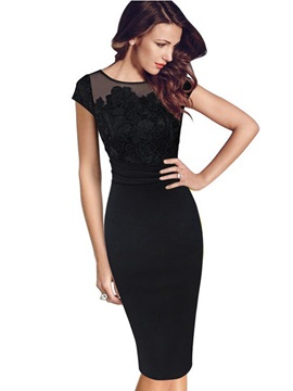 Black Short Sleeve Womens Bodycon Dress