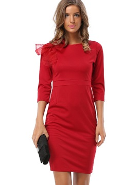 Chic Solid Color Long Sleeve Bodycon Dress
