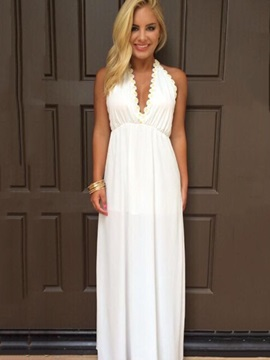 Chic White Sleeveless Womens Maxi Dress