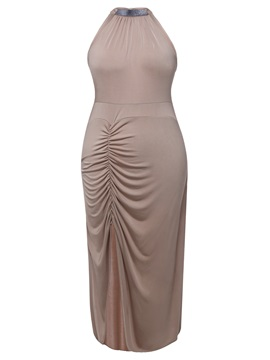 Solid Color Sleeveless Womens Plus Size Bodycon Dress