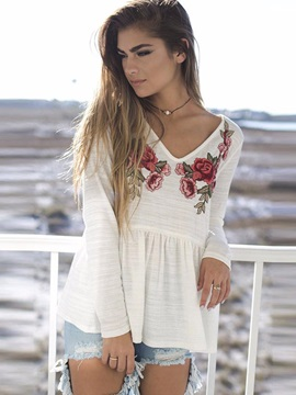 V Neck Embroidery Long Sleeve T Shirt