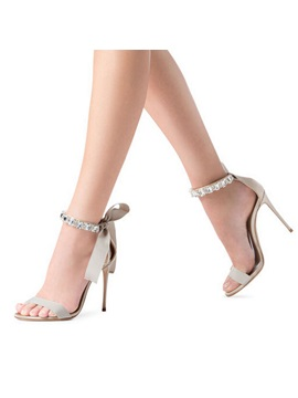 Silk Fabric Lace Up Bow Rhinestone Stiletto Sandals