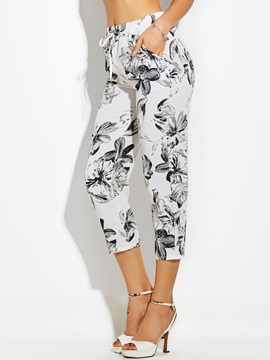 Mid Calf Flower Print Straight Womens Pants