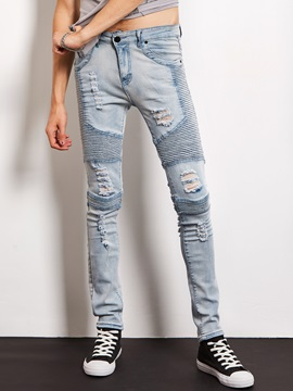 Holes Decorated Straight Slim Mens Jeans