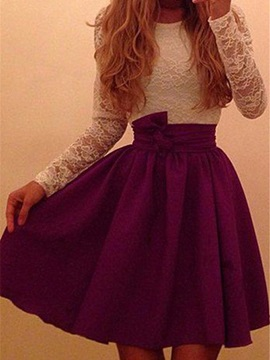 Lace Patchwork Long Sleeves Scoop Womens Dress