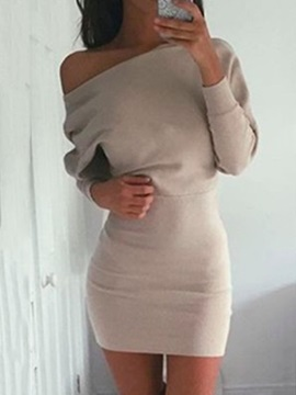 Long Sleeves Boat Neck Bodycon Womens Dress