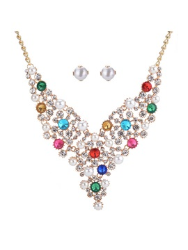Diamante Colorful Alloy Two Piece Jewelry Sets