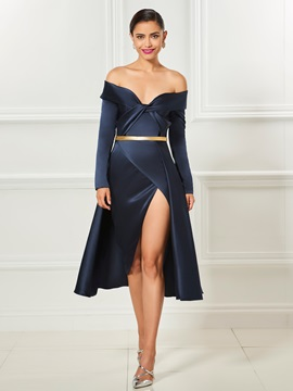 Unique Off The Shoulder Long Sleeves A Line Split Front Sashes Cocktail Dress