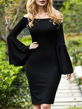 Black Boat Neck Flare Sleeve Bodycon Dress