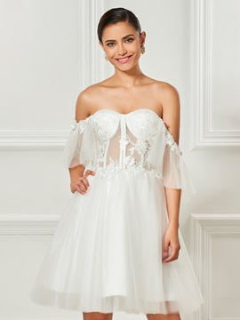 Off The Shoulder Lace A Line Tulle Short Sleeves Cocktail Dress