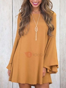 Long Bell Sleeves Womens Day Dress