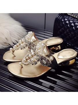 Faux Leather Rhinestone Beads Slip On Womens Sandals