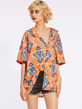 Loose Color Block Geometric Pattern Blouse