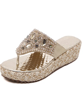 Pu Thong Rhinestone Slip On Womens Sandals