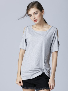 Plain Cold Shoulder T Shirt