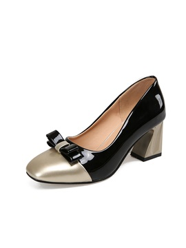 Pu Bow Square Toe Chunky Heel Womens Pumps