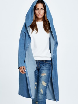 Stylish Loose Denim Mid Length Trench Coat