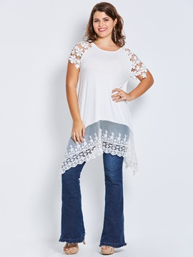 Plus Size Lace Irregular T Shirt