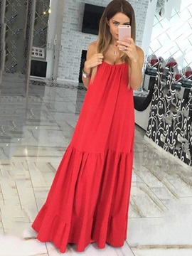 Solid Color Sleeveless Womens Dress