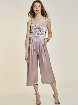 High Waist Backless Wide Legs Womens Jumpsuit