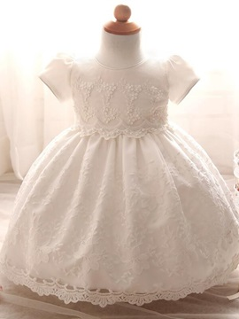 Beautiful Round Neck Short Sleeves Lace Christening Gown