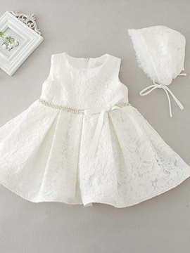 Modern Straps Bowknot Lace Christening Gown