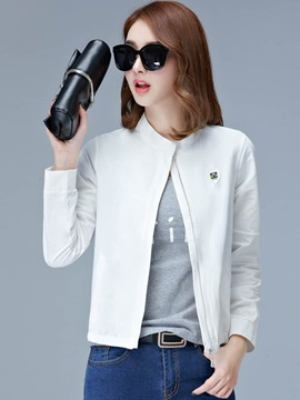 Plain Stand Collar Zipper Jacket