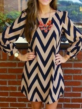 Print Long Sleeves Womens Day Dress