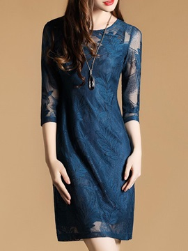 Round Neck Long Sleeve Womens Lace Dress