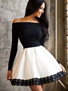 Boat Neck Long Sleeve Skater Dress