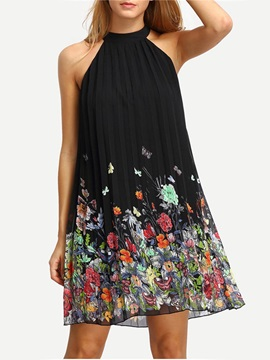 Floral Imprint Sleeveless Short Day Dress