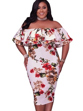 Floral Imprint Boat Neck Plus Size Womens Maxi Dress