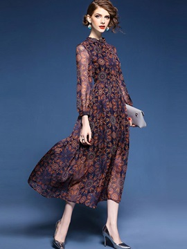 Long Sleeve Chiffon Womens Dress