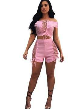 Backless Lace Up Slash Neck T Shirt And Shorts Suit