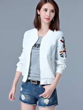 Stylish Embroidery Zipper Jacket